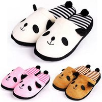 Wholesale New Arrivals Women Men Warm Winter Soft Cute Plush Anti slip Panda Indoor Home Slippers Shoes EX94