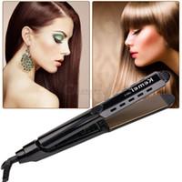 Cheap 110-240V Tourmaline Ceramic Hair Straightening Irons Titanium Panel Electronic Heating Plate Hair Straightener