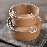 Disposable Kraft Paper Salad Bowl With PET Cover Take Out Cake Dessert