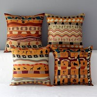 african print cushions - Square X45CM Colorful African Cotton Linen Cushion Pillow Case Cover Vintage Printed Home Back Throw