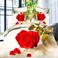 Wholesale 3d effects Flowers bedcover Queen double bed size doona duvet comforter quilt cover sheets pillowcase pc bedding set bedclothes