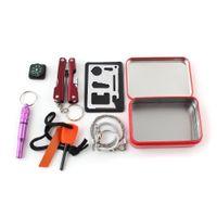 Wholesale Self Help Outdoor Sport Camping Hiking Survival Emergency Gear Tools Box Kit Set