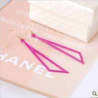 big ho - 2015 fashion jewelry double sided studs earrings for women piercings crystal Europe and the influx of goods big triangle geometric shaped ho