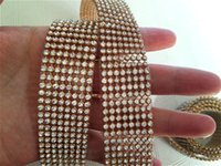 hot-fix for rhinestone - 3mm rows meters Hot fix Rhinestone Mesh trim with crystal rhinestone in gold metal base For Garment Shoes Bags decoration