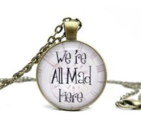 art in bronze - Glass Dome Necklace Alice In Wonderland Necklace We are all mad here glass dome art pendant alice bronze necklace
