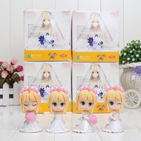 anime wedding dress - 4 CM Anime Fate Stay Night Saber Lily Wedding Dress PVC Action Figures Collectible Model Toys