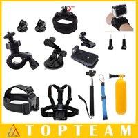 achat en gros de porte-vélos gopro-Pour GoPro Accessoires Set Bracelet + Kits d'Extension pour Casque Mount + Support pour Ceinture + Support pour Guidon pour Gopro Hero 4/3 + / 3/2 SJCAM