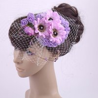 Wholesale Multi Flower Bridal Wedding Hats for Brides Fascinator Hair Hairbands Vintage Sweet Party Evening Hair Accessories for Bridal