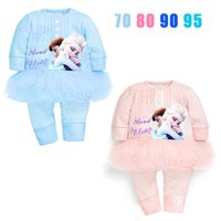 Wholesale 2015 New Arrival Frozen Baby Sets Fashion Girl Lace Baby O Neck long sleeve cotton Coverall Baby One Piece Romper kids clothing