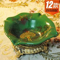Wholesale European court emerald colored ceramic ashtray ice cracks Decoration home business gifts ashtray