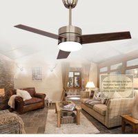 Wholesale Inch European modern minimalist fashion W LED ceiling fan light with wooden blades and remote control switch
