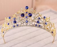 crowns and tiaras - Bling Bling Crystal Wedding Bridal Tiara Crown Golden And Royal Blue Rhinestone Headband Bridal Luxury Hairwear Beauty Pageant Crown ZC