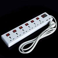 achat en gros de puissance usb surtension-Hot 6 Universal Outlet 2 Chargeur USB Power Strip Port Surge Protector Disjoncteur 2500W Livraison gratuite