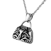 Pendant Necklaces ash handbag - Lily Stainless Steel Handbag Prayer Box Pendant Waterproof Cremation Urn Necklace Ash Memorial Jewelry With Gift Bag And Chain