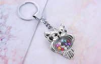Cheap Floating locket keychains cute owl Living Memory Crystal Locket Pendant keychain Key Rings