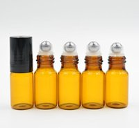 Wholesale 3ml ROLL ON GLASS BOTTLES AMBER Brown fragrance ESSENTIAL OIL Perfume stainless steel Roller ball Aromatherapy Bottle by DHL
