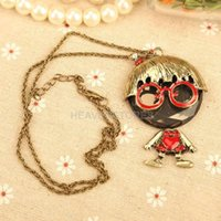 Wholesale Trendy Big Glasses Cute Dolls Studded Long Necklace for Girl Woman hv3n