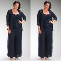 Wholesale navy blue plus size mother of the bride dresses sweetheart neckline beaded lace appliqued chiffon plus size pant suits with jacket