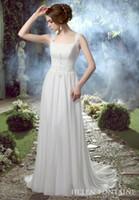 Wholesale 2016 Destination Spring Wedding Dresses Long Floor Length Beach Ivory Beaded Chiffon Wedding Gowns With Straps Vestidos De Novia HFW10145