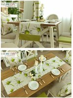 american flag decor - Aug New KD023 cm American pastoral green daisy fresh fabric decor table runner table flag
