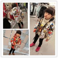 Wholesale 2015 girls winter coat children s clothing child female baby wadded jacket cotton padded jacket cartoon cute
