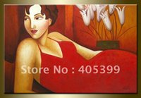 beautiful paintings gallery - Gallery Quality Modern Oil Painting On Canvas Beautiful Lady JYJDH047