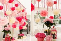 Wholesale cm inch Tissue Paper Pom Poms Wedding Party Decoration Craft Paper Flower For Wedding Decoration Decorative Flowers