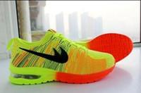 al por mayor s de los hombres zapatos de aire-2015 nuevo La carga completa de los hombres y de las mujeres del aire vuela los zapatos que activan del arco iris de la línea. Zapatos de los deportes al aire libre de los hombres de la manera, zapatos ocasionales