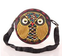 Wholesale ZJ Original ethnic Clutch Embroidered bag Cross cm Body Owl Messenger Bag
