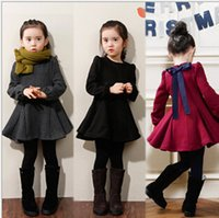 baby tick - 2015 New Brand Children s Clothing Tick Cotton Winter Girl Dress casual Kids dresses For Baby Girls clothes Black Red Gray XF05