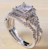 Professionnel de gros Pave mise Bijoux en argent sterling 925 saphir blanc cadeau Princess Cut diamant simulé mariée femmes Anneau