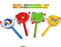 Wholesale Wooden drum cartoon Tambourine wooden toys wooden baby rattles musical toys educational toy