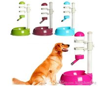 Cheap Pet Cat Dog Water Drinker Dispenser Food Stand Deluxe Feeder Dish Bowl Bottle Free Shipping Hot 2015