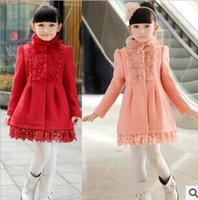 Wholesale Christmas Winter Sheep Woolen Coat Stand Collar Girls Children Outwear Pink Red Color Romantic Lace Princess Clothing