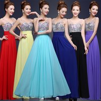 Wholesale Red purple Champagne Black navy Blue Prom Dresses V Neck Chiffon Sequin Floor Length Formal Dresses Party Evening Cheap