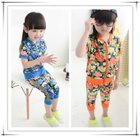 Cheap 2015 Summer New Sport Training Suit Flower Printing Outfits ,Baby Girl Summer Training Suit ,2Colors Children Outfits ,5Pcs Lot ,UM-1