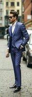 Wholesale New Design Blue Groom Tuxedos Wedding Suit For Men Designers Tailored Prom Suit Boyfriend Blazer Bridegroom Jacket Pants tie Vest
