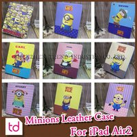 Wholesale For iPad Air2 D Cartoon Minions Despicable Me M2 Sleep Wake PU Leather Stand Holder Case Cover For iPad