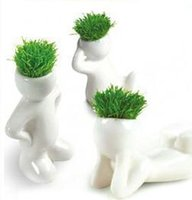 Wholesale ECOEY promotional white people grass planting grass doll small flower pot gardening customized gifts
