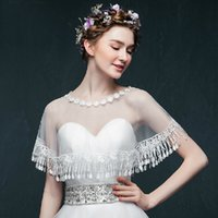 Wholesale Charming Bridal Wraps Lace Tulle Beads Sequins Appliques Bridal Shawls New Arrival Jackets Modern Sweety W5683