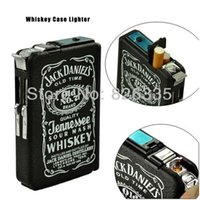 Wholesale Mulit function Whiskey Pocket Refillable Cigarette Case Windproof Butane Gas Smoking Lighter Metal Cigar Lighters A3