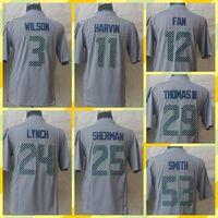 Cheap Free Shiiping American Football Russell Harvin Lynch Sherman Thomas III Smith Fan Grey Limited Men's Jersey