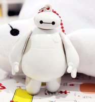 Wholesale Cartoon Big Hero White Baymax cm quot Silicone Double Faced Keyring Keychain kids birthday souvenirs gifts