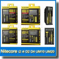Wholesale Genuine Nitecore I2 I4 D2 D4 UM10 UM20 Digi Charger Intellicharger LCD Display E Cigarettes Charger for Battery
