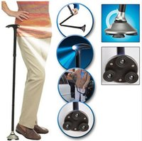 Cheap 20pcs lot Folding Cane with Built-in Light Walking Cane Magic Foldable Cane Trusty Cane
