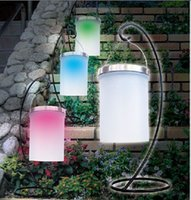 Wholesale 4xSolar Power Hanging Cylinder Lanterns LED Landscape Path Yard Garden Patio Holiday Light Lamps Outdoor Waterproof Solar Lights
