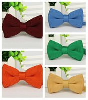 Wholesale men s business casual formal Tuxedo knitted bow ties korean style adjustable knitting bowtie neck tie multicolor RETAIL