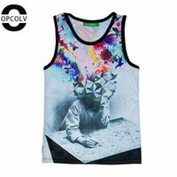 Wholesale w1215 OPCOLV new fashion women men punk d tank tops print the thinker printing abstract tank top funny basketball gym d vest