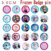 Wholesale 2015 Frozen pin Badge Cartoon Badge cm Anna Elsa Princess Olaf Costume Cosplay Boys Girls Toy Frozen tinplate badge Fashion Badges