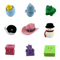 Wholesale 10pc pack mix sale Velvet Jewelry boxes animals flowers multi shapes colorful Rings box jewelry display storage foldable Cases for gifts